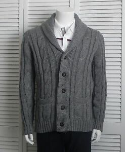 NEW Mens SIZE XL ALPACA Gray Grey Shawl Collar Cable Knit Cardigan ...