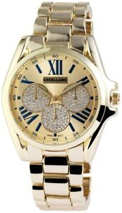 Excellanc-Damenuhr-Gold-Blau-Chrono-Look-Analog-Metall-Armbanduhr-X151004000015