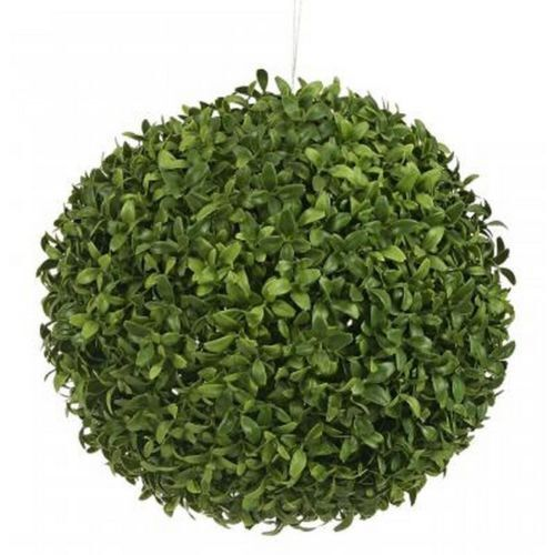 One 13 inch Outdoor Artificial Boxwood Long Leaf Topiary Ball Bush Tree 4 2 3 5