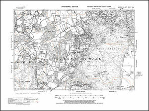 Walton on the Hill Headley Kingswood Banstead in 1938 old map