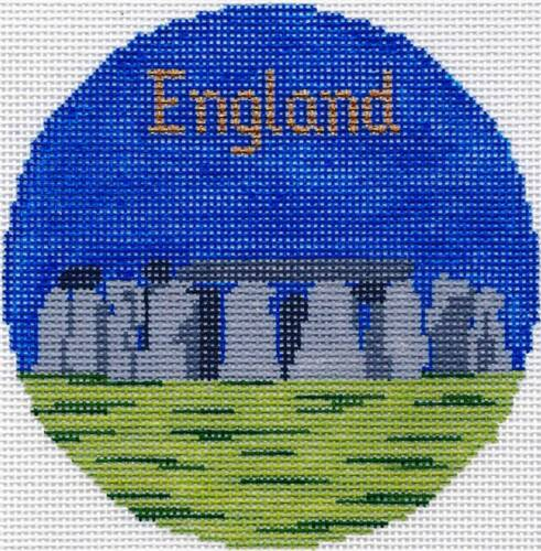 "STONEHENGE in ENGLAND handpainted 4.25/"" Round Needlepoint Canvas Silver Needle"