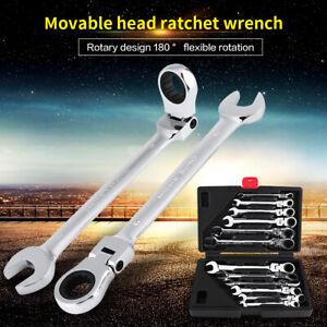 12Pcs 8-19mm Flexible Head Ratchet Gear Spanner Wrench Set STEEL Canvas Tool