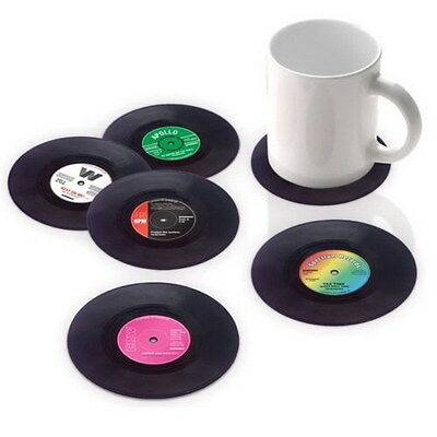 6PCS Vinyl Coaster Groovy Record Cup Drinks Holder Mat Tableware Placemat J