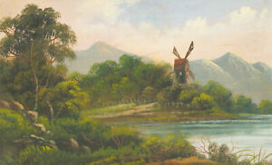 Gilt-Framed-Early-20th-Century-Oil-Windmill-in-a-Landscape