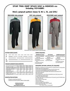 Star-Trek-Sewing-Pattern-Starfleet-uniform-jumpsuit-DS9-Voyager-men-039-s
