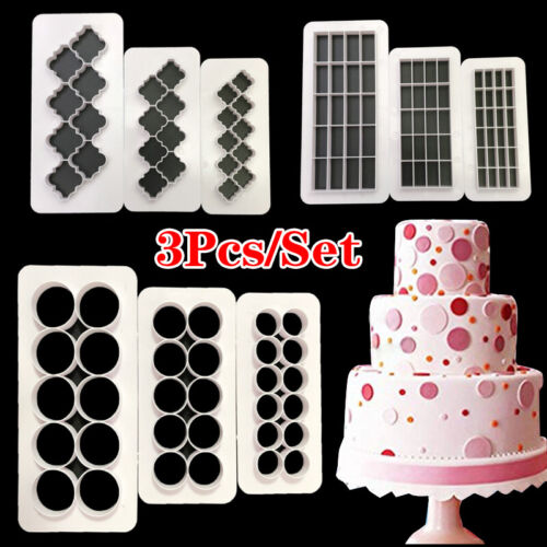 3X Cookie Cutter Pastry Biscuit Fondant Plastic Cake Decorating Mold Baking Tool