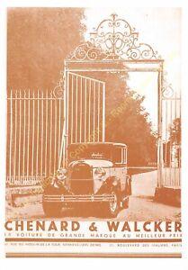 Sepia Postcard Ads Advertising Automobile Chenard & Walcker Edit 3615 PUB16