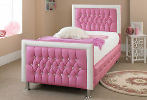 Princess-Pink-And-White-Diamante-Diamond-Faux-Leather-Bed-Frame