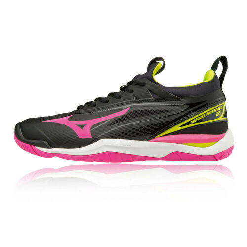 Mizuno Womens Wave Mirage 2 Indoor Court Shoes Black Pink Sports Trainers