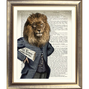 DICTIONARY-WALL-ART-PRINT-ON-ORIGINAL-ANTIQUE-BOOK-PAGE-LION-vintage-Old-Picture