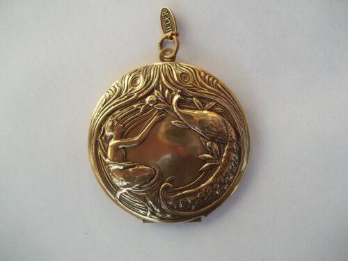 Xxl médaillon à ouvrir argent or photo pendentif rond 5,5cm Dame avec paon