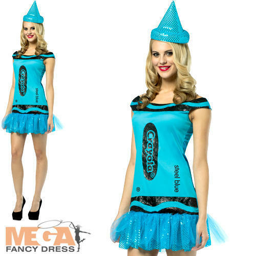 Crayola Steel Blue Donna UK 8-12 Fancy Dress Crayon Libro Giorno Costume Adulti Nuovo