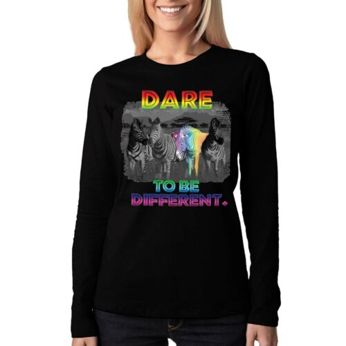 Velocitee Ladies Long Sleeve T-Shirt Dare To Be Different Rainbow Zebra A19563