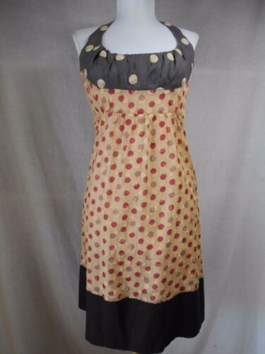 Tocca Halter Sun Shift Dress Sz 4 Polka Dots Cotto