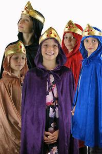 KINGS QUEENS PURPLE CAPE CLOAK WISE MAN NATIVITY FANCY DRESS COSTUME