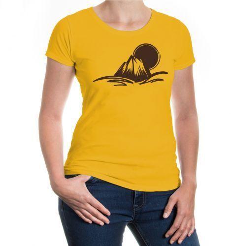 Damen Kurzarm Girlie T-Shirt Berglandschaft Berge Sonne Natur Ausflug