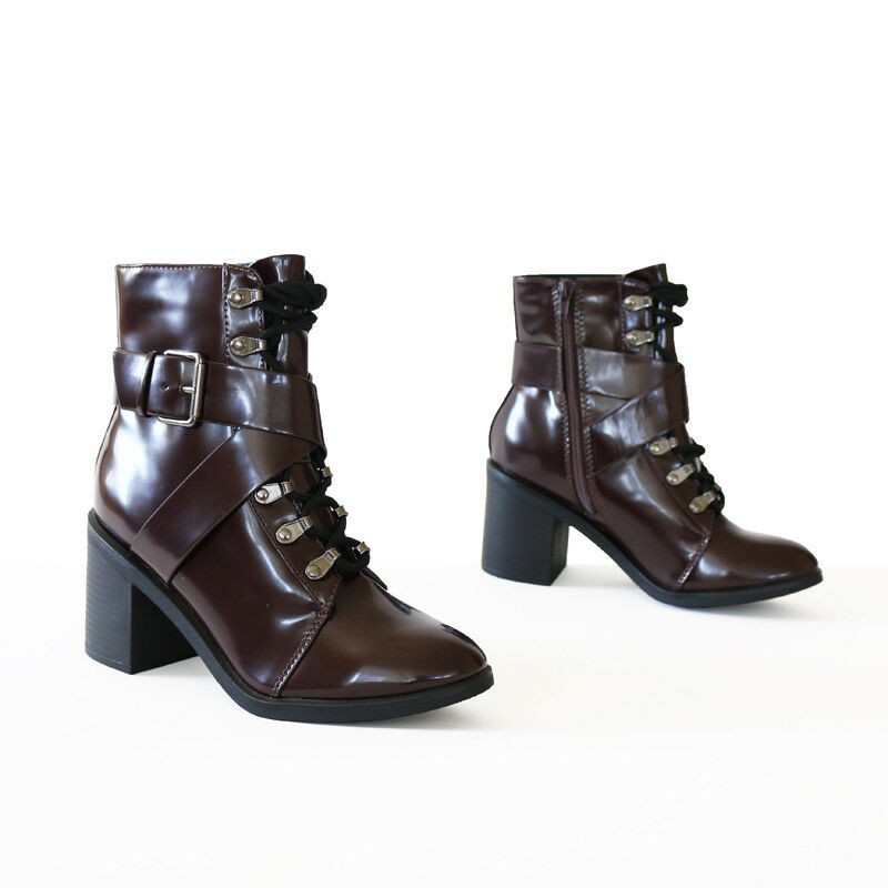 Edge Chic Patent Leather-Like Lace up  Stacked Heel Combate Ankle Boots Booties