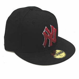 New Era 59fifty NY New York Yankees Chenille Red   Black Fitted 5950 ... 5a9761162ef