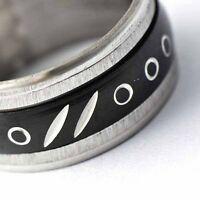 Mens Black Stainless Steel Ring Carved Pattern silver band Size 8 9 10 11 12