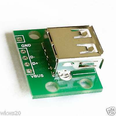 2pcs USB Female Type A to DIP PCB Adapter USB prototype power microUSB 2.0