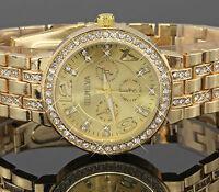 Luxus Damenuhr Gold Silber Rosegold Strass Edelstahl Damen Armbanduhr U1523