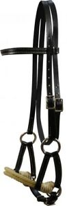 Showman-BLACK-Double-Stitched-Leather-Side-Pull-w-Double-Rope-Nose-NEW-TACK