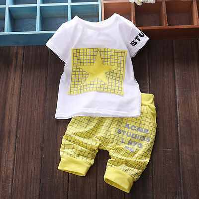 2015 Baby Boy Kid 2pcs Set STAR Sportswear T-shirt Tops Short Pants Outfit Suits