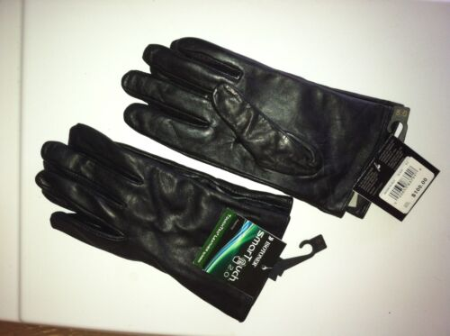 Size 8.5 Isotoner smarTouch Leather Gloves Black 9 $100.00 RETAIL