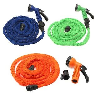 Multi color 100FT Expandable Flexible Garden Water Hose With Spray Nozzle Head