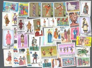 Costumes + Uniformes 200 Toutes Différentes Collection De Timbres-afficher Le Titre D'origine