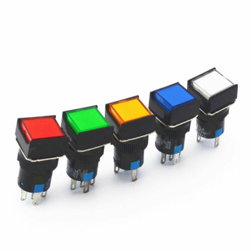 New 16mm Square Momentary Push Button Switch Self-Lock LED Light 5 Terminal