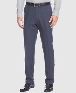193-Kenneth-Cole-Reaction-34w-X-32l-Men-039-S-Blue-Fit-Flat-Front-Suit-Dress-Pants