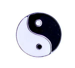 Art deco vintage style silver tone black and white yinyang for Deco yin yang