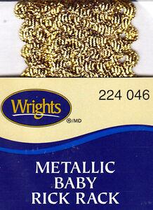 WRIGHTS-GOLD-METALLIC-046-BABY-RICK-RACK-4-YARDS-1-4-034-WIDE-TRIM
