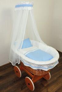 baby ausstattung janina himmelset gef ttertes nestchen f r stubenwagen wei blau ebay. Black Bedroom Furniture Sets. Home Design Ideas
