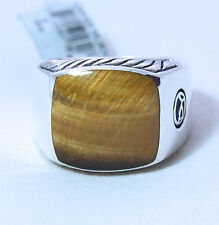 New David Yurman Men's Classic Signet Ring 15mm Tiger's Eye Silver Size 10 $575