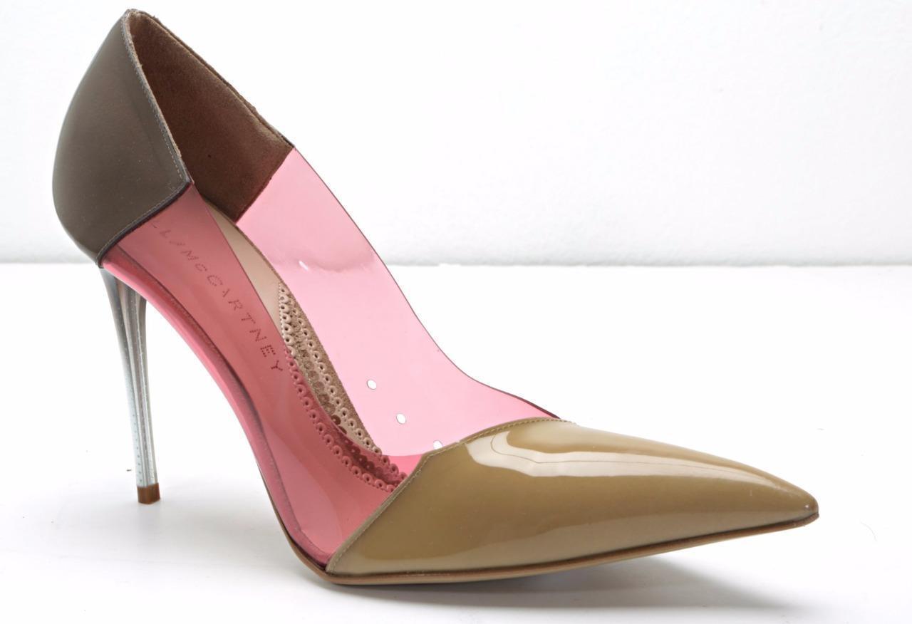 STELLA MCCARTNEY Taupe & Pink Patent & PVC High Heel Pump Sandal 10-40 NEW