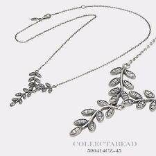 Authentic Pandora Silver Sparkling Leaves With Clear CZ Necklace 590414CZ-45
