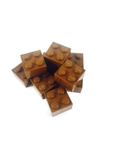 LEGO Star Wars City Ninjago 2x2 Standard Old Brown Brick Parts Pieces Lot of 8