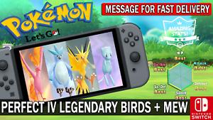 Pokemon-Let-039-s-GO-Shiny-Perfect-IV-Articuno-Moltres-Zapdos-amp-Mew-Legendary