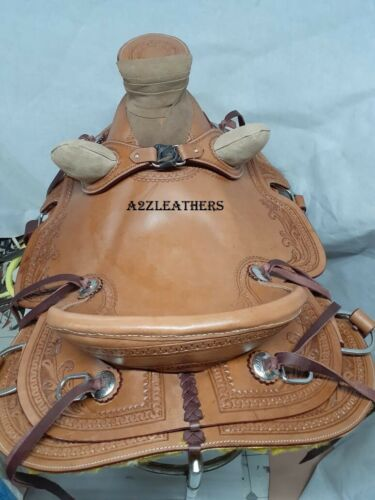 available in 4 size. Designer Natural Wade Western Leather Ranch Roping saddle