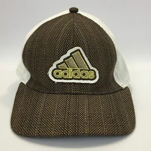 Men s Adidas White Brown Tweed Fitted Ball Cap Hat Size 7 3 8  370de06610d