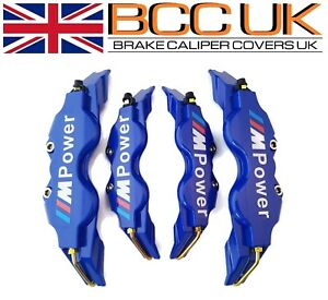 New-Blue-brake-caliper-Covers-Kit-Blanc-M-power-logo-avant-arriere-4x-M-S-Convient-BMW
