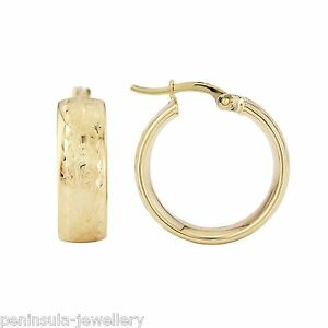 Image Is Loading 9ct Gold Wedding Band Hoop Earrings 18mm Gift