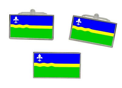 Flevoland Flag Gold-tone Cufflinks Money Clip Engraved Gift Set