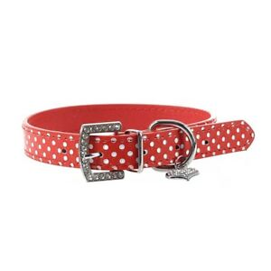 Collar-Correa-Cuero-PU-Color-Rojo-Ajustable-para-Perro-Mascota-M-Q9Y9