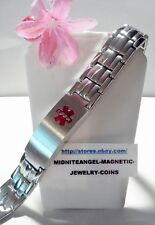 "9"" MENS MEDICAL ALERT STAINLESS STEEL LINES MAGNETIC BRACELET PRO HEALTH THERAPY"