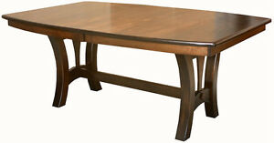 Amish Casual Trestle Dining Table Boat Top Oval Rectangle Solid Wood - Oval trestle dining table