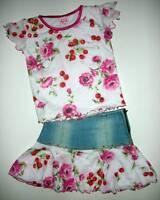 Lipstik Cherry Flower Tee Denim Skirt 2pc Set 4t Adorable Sassy