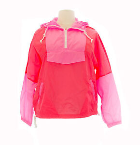 TopShop Women&amp039s Fluorescent Pink/Orange Windbreaker Jacket